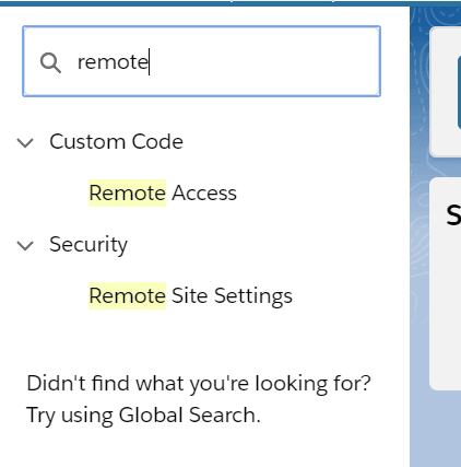 Remote Site Settings